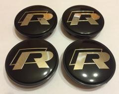 65mm R Logo Alloy Wheel Centre Hub Caps for Golf R, Passat, Sc...