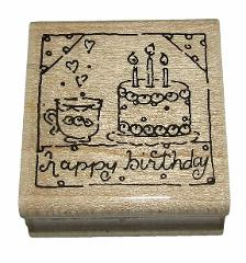 Happy Birthday Rubber Stamp New JRL Design Cake Tea Wood Mount...
