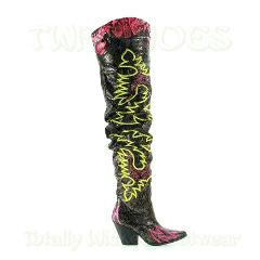 CR Kelsey 21 Rock Star Black & Neon Western Slouch OTK Thigh H...