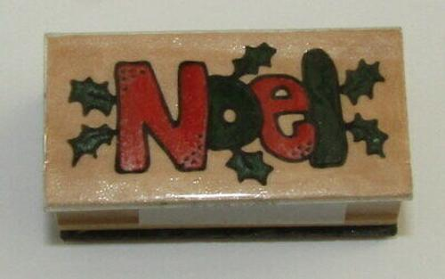 Noel Rubber Stamp Christmas Holly Leaves Wood Mounted
