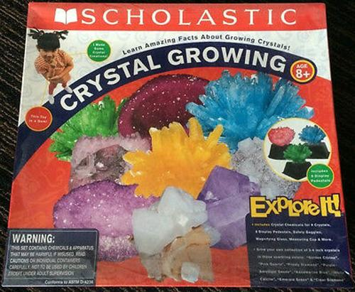 complete Giant 9 CRYSTAL GROWING lab set w/6 pedestals SCHOLASTIC kit rock used
