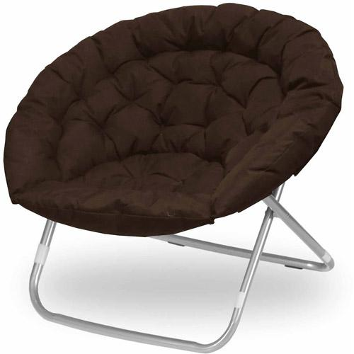 Oversize Extra Large Microsuede Saucer Moon Folding Lounge Chair, Brown