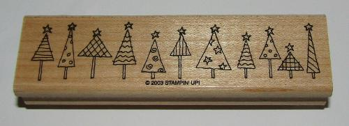 Christmas Tree Rubber Stamp Border Stampin Up Retired Wood Mounted 4.5