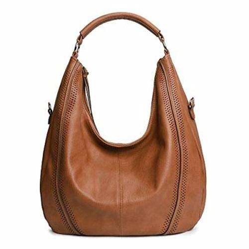 Large Hobo Handbags Leather Womens Bag Vintage Slouchy Purse PU Tan