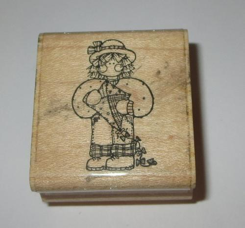 Girl Kite Rubber Stamp Miss March JRL Design Beach Fun Hat Boots Wood Mounted