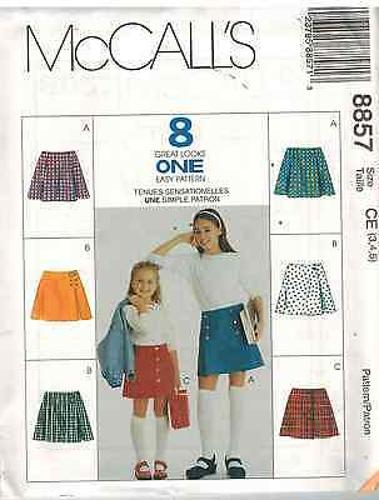 8857 UNCUT McCalls Vintage SEWING Pattern Girls A line Skirts 8 Looks Easy OOP