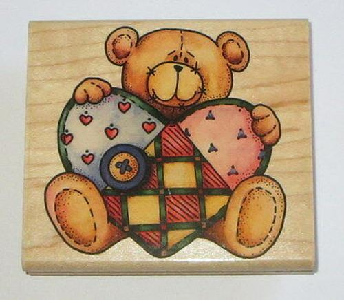 Ted E Bear Rubber Stamp Teddy Quilted Heart 3.75