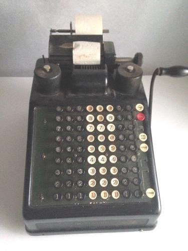 Antique 1900s Burroughs Adding Machine Heavy Steel Metal 21 Lbs. Pull Handle