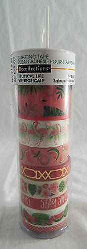 Recollections Tropical Life Washi Tape 1 Tube 8 rolls 7-10 yd 1 5 yd Foil Pinks