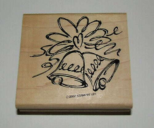 Wedding Bells Rubber Stamp Heart New Stampin Up Wood Mounted Retired Design