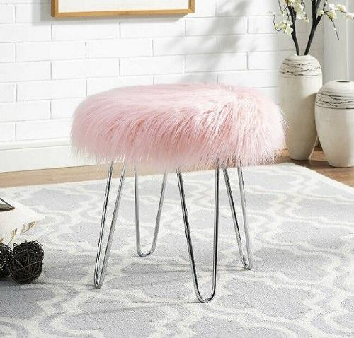 Pink Faux Fur Stool Ottoman For Girls Teens Women Small Vanity Chair Glam Decor