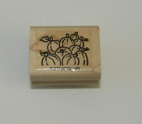 Pumpkins Rubber Stamp Harvest Halloween Field Stampin Up Wood Mounted Retired