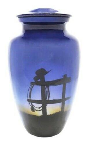 Small/Keepsake 3 Cubic Inch Cowboy Farewell Aluminum Cremation Urn for Ashes