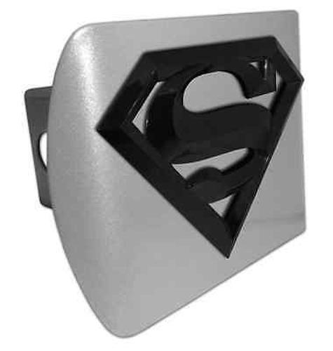 Superman (Black Shield) ALL METAL Brushed Chrome Hitch Cover