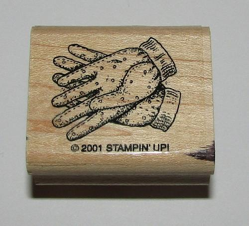 Gardening Gloves Rubber Stamp Stampin Up Retired Design Wood Mounted 1.5