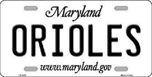 Orioles Maryland State Novelty Metal License Plate