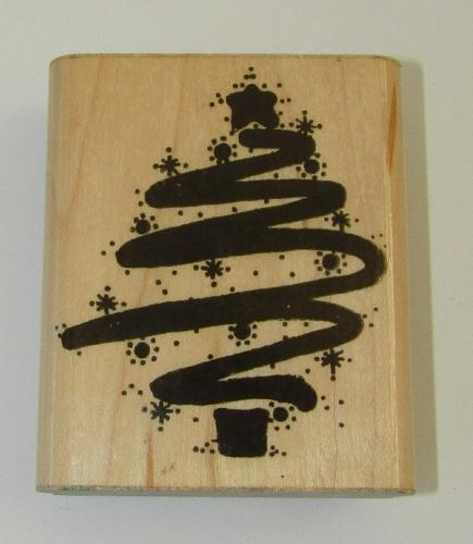 Starry Scribble Tree Rubber Stamp D.O.T.S. Christmas Wood Mounted 3