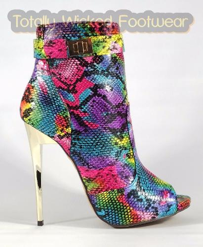 33e0e7187ef 2% OFF on MM Adamarys Colorful Rainbow Snake Open Toe High Heels Ankle  Boots 6-11   Clothing