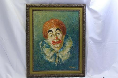 Clown Oil Painting Vintage Signed G. Yonan 18