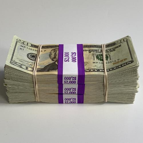 Prop Money $6,000 New Style Aged Blank Filler Bills Play Replica Fake Stacks