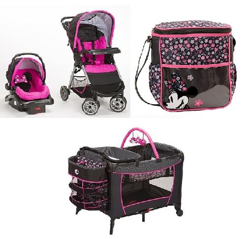 Minnie Mouse Baby Gear Bundle,Stroller Travel System,Play Yard with Diaper Bag