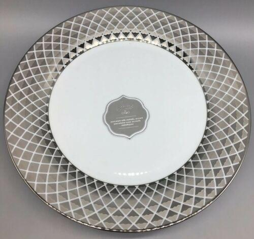 x4 CIROA Luxe Metallic Silver Lattice Dinner Plate Set 11