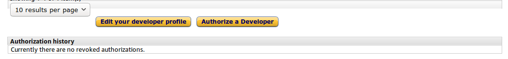 Click Authorize a Developer button