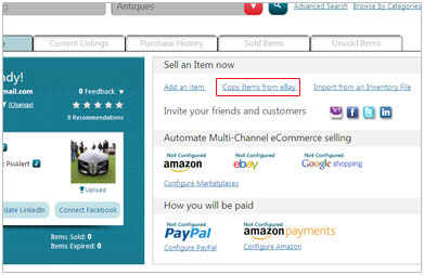 Click on Copy Items from eBay link